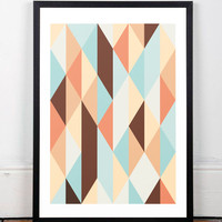 Geometric print, Scandinavian poster, Nordic design, Mid century print, Retro art, Wall art, Office decor, Abstract wall art, Colorful art,