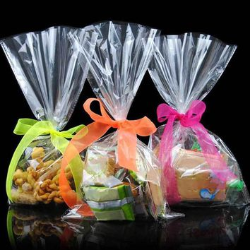 100pcs 12*25 Cm Transparent Design Adhesive Bag Cookies Diy Gift Bag For Christmas Wedding Party Candy Food Packaging Bag MS072