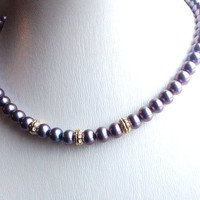 Gorgeous light purple Pearls necklace with AAA freshwater pearls and Swarovski elements / statement necklace / Unique jewelry