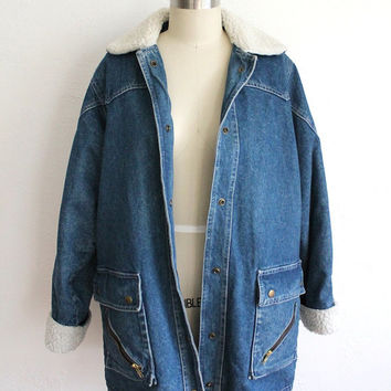 Vintage 80s Women's Denim Smock Coat with Flannel Lining // Medium Jacket