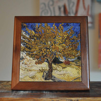 Van Gogh Mulberry Tree Ceramic Tile Coaster Set Artwork Trivet Hot Plate Pot Stand Splashback Kitchen Decor Tile Interior Tile Coasters