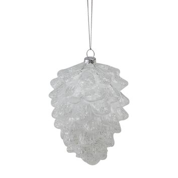 "5"" Clear Snow Dusted Glass Pine Cone Christmas Ornament"