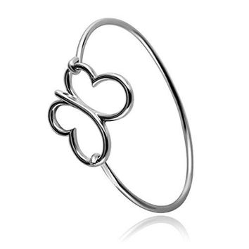 RUXIANG Hollow Out Butterfly Cuff Bangle Bracelet Jewelry for Women Girls