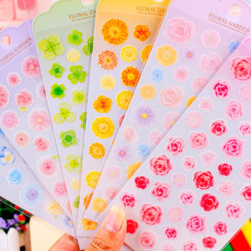 DIY Cute Kawaii PET Scrapbooking Sticker Lovely Flower Decorative Sticker For Diary Decoration Free Shipping 956