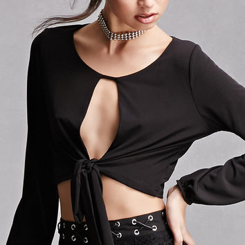 Cropped Knotted-Hem Top