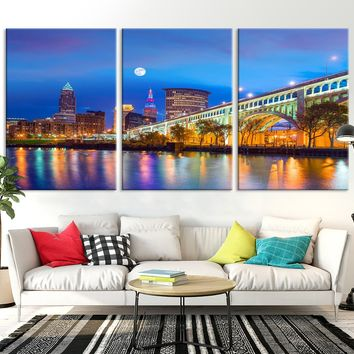 63099A Night in Cleveland Extra Large Cleveland Wall Art Canvas Print