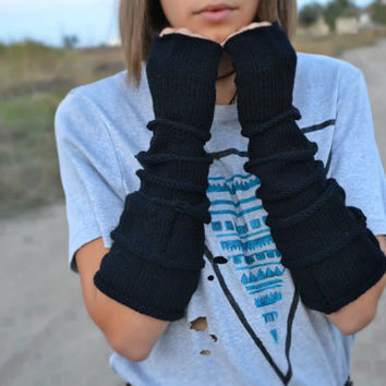 FREE SHIPPING grunge fingerlessgloves, long gloves, ripped gloves, handknit, black arm warmer