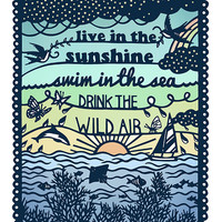 8x10 Print - Live in the Sunshine - Papercut Illustration - Summer Quote Fine Art Print