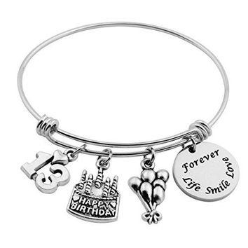 SEIRAA Birthday Gifts for Her Adjustable Bangle Stainless Steel Bracelet 13th 21st 30th 40th 50th