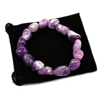Amethyst Tumbled Stone Gemstone Stretch Bracelet