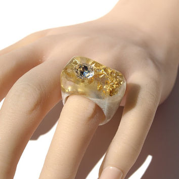 Modern Crystal Resin Ring, August Gift Swarovski Crystal Jewelry, Gold Leaf Ring, White Pearl Ring, Gift Ring, ResinHeavenUSA