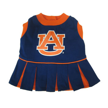 Mirage Pet Products Puppy Dog Cat Costume Auburn Tigers Sports Team Logo Cheer Leading Uniform XS