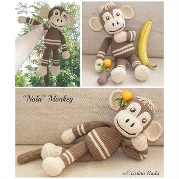 Monkey toy, Amigurumi crochet Monkey, Big Monkey, Brown Monkey, collectible Monkeys, Eco friendly toy, luck Symbol Chinese New Year 2016