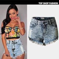 Sexy Women Girl Summer High Waist Ripped Hole Wash Denim Jeans Shorts Pants = 4721824260