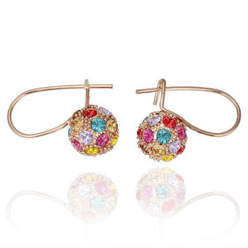 18K Rose Gold Rainbow Swarovski Hoop Earrings Made with Swarovksi Elements