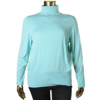 JM Collection Womens Knit Ribbed Trim Turtleneck Sweater