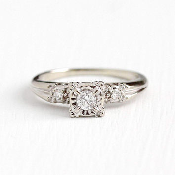 Vintage 14k White Gold Brilliant Diamond Ring - Retro 1950s Size 7 3/4 Engagement Wedding Promise Classic 1/6 CTW Fine Jewelry