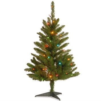 4.5 Foot Small Slim Narrow Pencil Christmas Tree with 150 Pre-Strung Multi-Color Lights