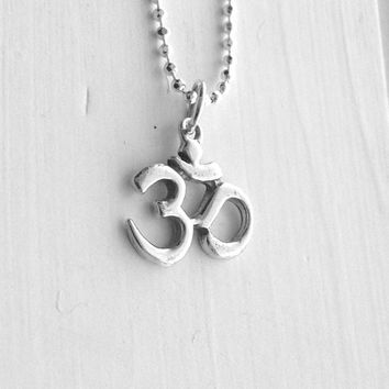 Om Necklace, Sterling Silver Jewelry, Om Jewelry, Ohm Necklace, Om Symbol, Charm Necklace, Om Pendant, Om Charm, Om, Ohm, .925 Jewellry