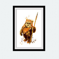 Star Wars Ewok print Ewok watercolor poster Star Wars watercolor decor Home decoration Kids room wall art Child room decor Gift art  W655