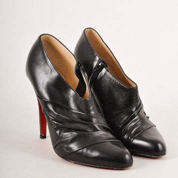 DCCK2 Christian Louboutin Black Ruched Leather Heeled Ankle Booties