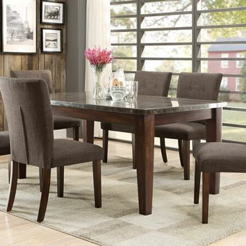 Home Elegance 5281-64 7 pc dorritt collection cherry finish wood and marble top dining table set with upholstered seats