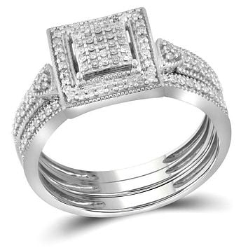 10kt White Gold Womens Diamond Square 3-Piece Bridal Wedding Engagement Ring Band Set 1-3 Cttw
