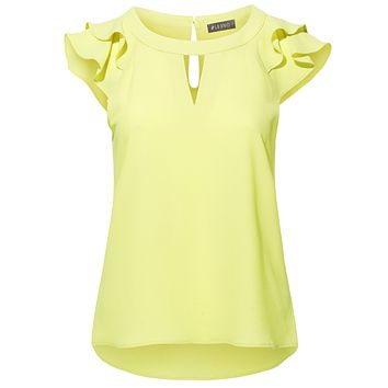 Stretchy Chiffon Ruffled Cap Sleeve Keyhole Blouse Top