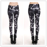 Punk Pants Crow Printed Leggings