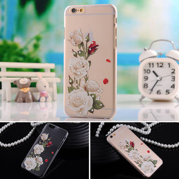 case for apple iphone 6 iphone6 4.7 i6 soft cover i transparent mobile phone tpu flower butterfly diamond by gril women fashion