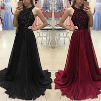 Elegant Sequined Summer Dress women Sexy Halter Backless Mesh Long maxi Dresses Black Red Party prom Dress Noir Vestidos Femme