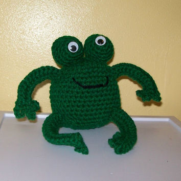 Crocheted Froggie  Stuffed Animal  Amigurumi by meddywv on Etsy