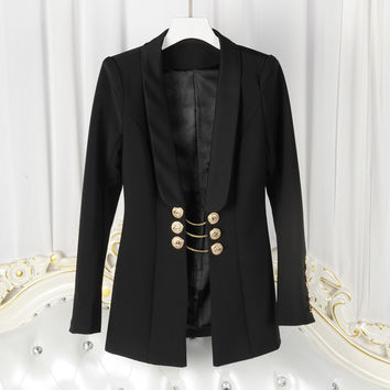 HIGH QUALITY Newest Fashion 2017 Designer Blazer Women's Long Sleeve Gold Buttons Chain Blazer Jacket
