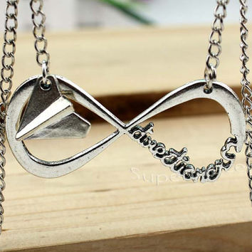 Fashion style necklace, silver necklace - infinity necklace - unique flew necklace for girlfriend and BFF