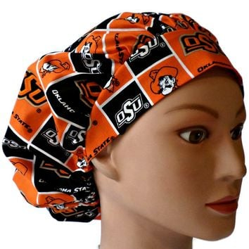 Women's Bouffant Surgical Scrub Hat Cap in Oklahoma State Cowboys w/ Elastic and Cord-Lock