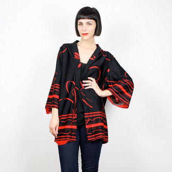 Vintage Kimono Jacket Black Red Duster Jacket Striped Floral Print Hippie Coat Bell Sleeve 1970s 70s Kimono Festival Boho M Medium L Large