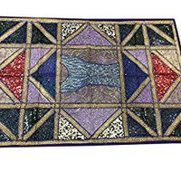 Indian Sari Tapestry Blue Embroidered Patchwork Wall Hanging Throw