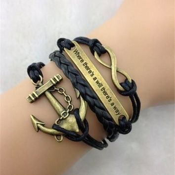 Retro Anchor Embellished Multilayered Woven Wrap Charm Bracelet For Men and Women Wonderful Christmas Gift = 5979069185