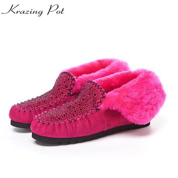 Krazing Pot vintage cow suede natural sheep fur snow boots for women flat with British school keep warm slip on ankle boots L68