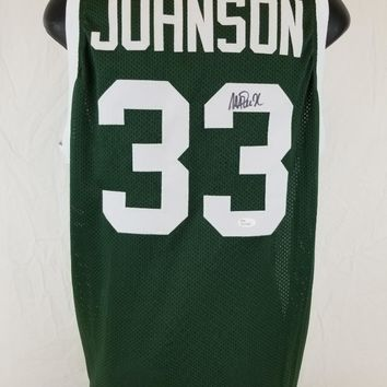 Magic Johnson Signed Autographed Michigan State Spartans Basketball Jersey (JSA COA)