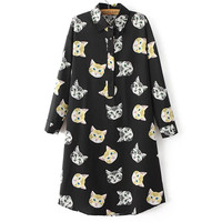 Women's Fashion Korean Casual Stylish Print Shirt One Piece Dress [8511462599]