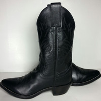 Justin Black Leather Western Cowgirl Cowboy Boots Women's Size 5.5