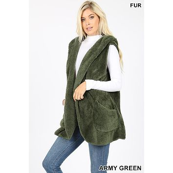 Sherpa Hooded Collar Pocket Vest Cardigan
