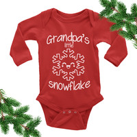 Grandpa's Little Snowflake Onesuit. Christmas Baby Outfit.