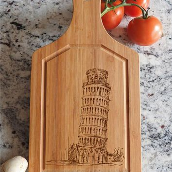 ikb65 Personalized Cutting Board Wood Leaning Tower Pisa Italian food kitchen
