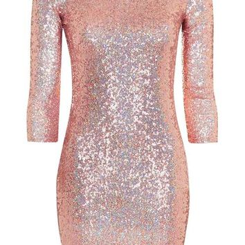 Slash Neck Sequin Mini Dress - Trending Now - New In