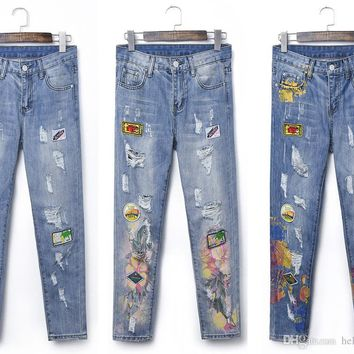 High Quality Special Printing Women Jeans Pants Flowers Printing Ripped Patchwork Pencil Pants Trousers High Quality Denim for Women's