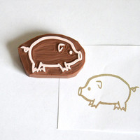 Hand Carved Rubber Stamp / Pig