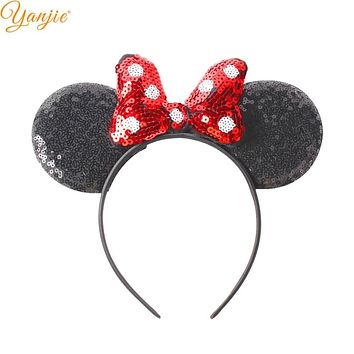 1PC Hair Style Classical Dot Sequins Minnie Hair Bow Mouse Ears Kids Girl Hairband DIY Hair Accessories 2018 Photo Pro Headband