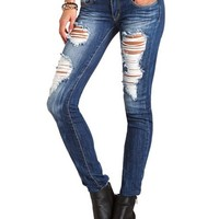 MACHINE JEANS DESTROYED SKINNY
